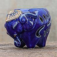 Ceramic oil warmer, 'Royal Scent in Blue' - Ceramic Elephant Oil Warmer in Blue from Thailand