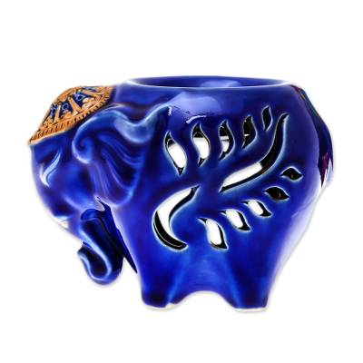 Ceramic Elephant Oil Warmer in Blue from Thailand