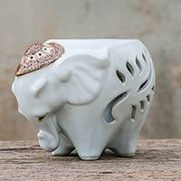 Ceramic oil warmer, 'Royal Scent in White' - Ceramic Elephant Oil Warmer in White from Thailand
