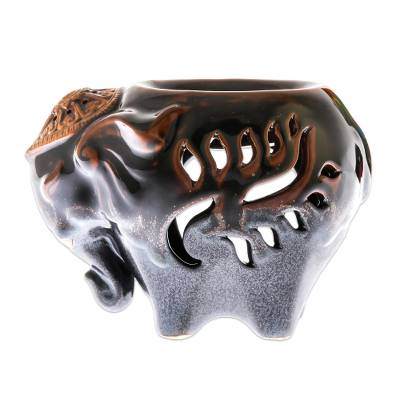 Ceramic Elephant Oil Warmer in Brown from Thailand