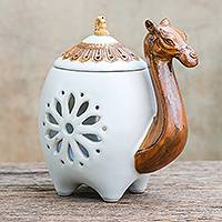 Ceramic oil warmer, 'Desert Fragrance in White' - Camel-Themed Ceramic Oil Warmer in White from Thailand