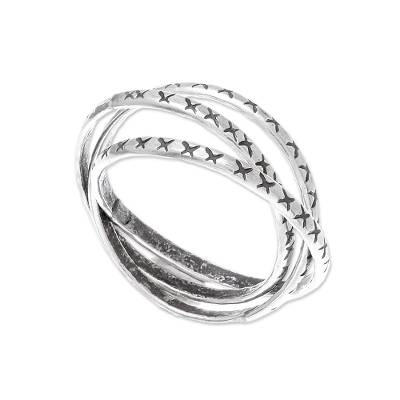 Crossed Wedding Bands.Cross Pattern Karen Silver Band Ring From Thailand Crossed Trinity