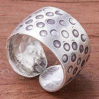 Silver band ring, 'Karen Dots' - Dot Motif Karen Silver Band Ring from Thailand