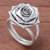 Sterling silver cocktail ring, 'Chic Rose' - Rose Flower Sterling Silver Cocktail Ring from Thailand (image 2b) thumbail