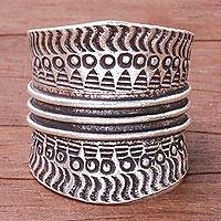 Sterling silver band ring, 'Great Waves' - Combination Finish Sterling Silver Band Ring from Thailand
