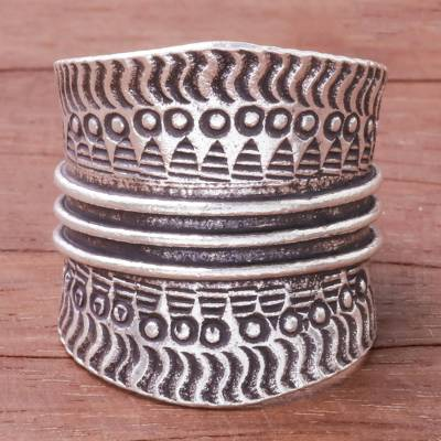 9e2f8063c36 Combination Finish Sterling Silver Band Ring from Thailand - Great ...
