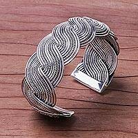 Featured review for Sterling silver cuff bracelet, Serpentine Elegance