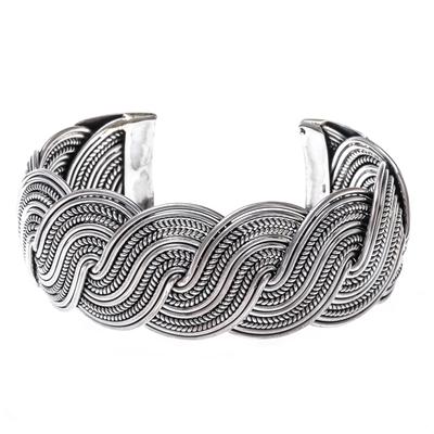 Sterling silver cuff bracelet, 'Serpentine Elegance' - Serpentine Intertwined Sterling Silver Bands Cuff Bracelet