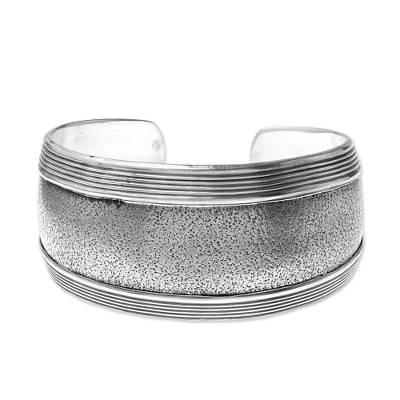 Sterling silver cuff bracelet, 'Exotic Patterns' - Hill Tribe Crafted 925 Sterling Silver Cuff Bracelet