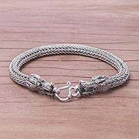 Men's sterling silver chain bracelet, 'Air and Fire'