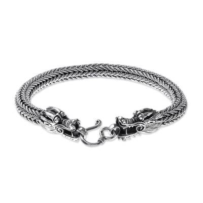 Men's sterling silver chain bracelet, 'Air and Fire' - Men's Sterling Silver Naga Chain Bracelet from Thailand