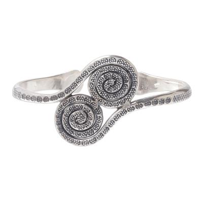 Silver cuff bracelet, 'Silver Spirals' - 950 Silver Hill Tribe Spiral Cuff Bracelet from Thailand