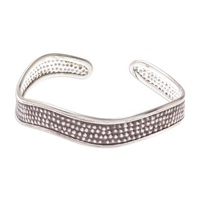 Handcrafted Karen Silver Textured Wave Cuff Bracelet