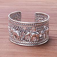 Sterling silver cuff bracelet, 'Elephant Jaunt' - Elephants in Forest Openwork Sterling Silver Cuff Bracelet