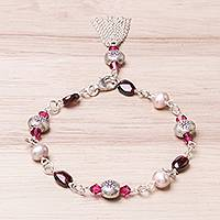 Garnet and cultured pearl charm bracelet, 'Tangy Sweet' - Garnet and Cultured Pearl Sterling Silver Charm Bracelet