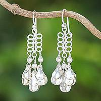 Sterling silver chandelier earrings, 'Lovely Woman' - Sterling Silver Drop Pattern Chandelier Earrings
