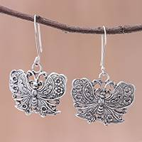 Sterling silver dangle earrings, 'Fluttering Butterfly' - Handmade 925 Sterling Silver Butterfly Dangle Earrings