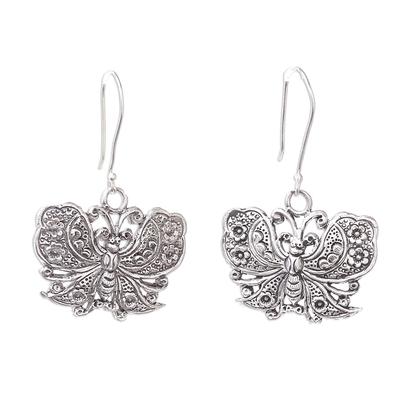 Sterling silver dangle earrings, 'Fluttering Butterfly' - Handmade 925 Sterling Silver Butterfly Dangle Earrings