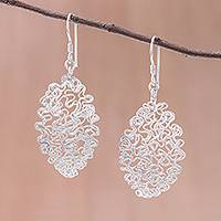 Sterling silver dangle earrings, 'Opulent Chaos' - Sterling Silver Twisted and Coiled Wire Oval Dangle Earrings
