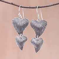 Sterling silver dangle earrings, 'Karen Hearts' - Handmade 925 Sterling Silver Heart Shaped Dangle Earrings