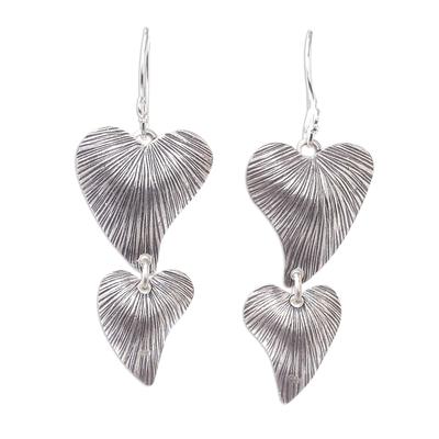 Sterling silver dangle earrings, 'Karen Hearts' - Handmade 925 Sterling Silver Heart Shaped Dangle Earrings