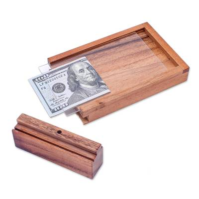 Wood puzzle, 'Magic ATM' - Handmade Raintree Wood Money Puzzle from Thailand