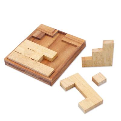 Wood puzzle, 'Find a Way' - Handmade Raintree Wood Puzzle from Thailand