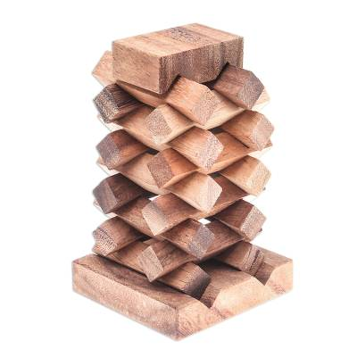 Wood puzzle, 'Tower of Pisa' - 18-Piece Raintree Wood Tower Puzzle from Thailand