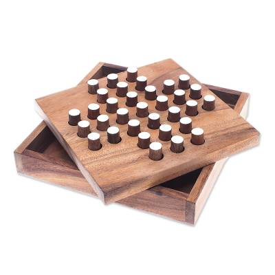 Wood puzzle, 'Solitaire Pegs' - Raintree Wood Peg Solitaire Puzzle from Thailand