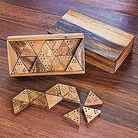 Wood triangular domino set, 'Triple Threat' - Wood 3-Sided Domino Set Crafted in Thailand