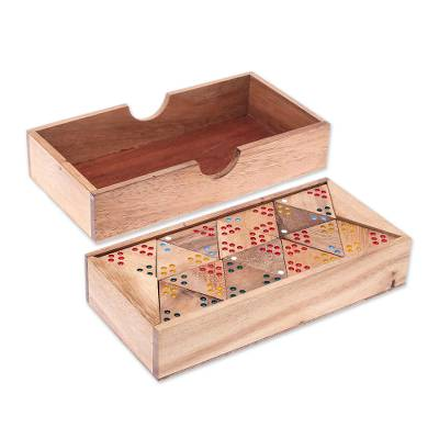 Wood domino set, 'Trionimo' - Wood 3-Sided Domino Set Crafted in Thailand