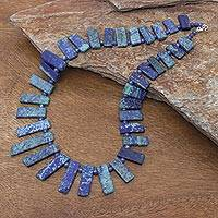 Azure-malachite and lapis lazuli beaded necklace, 'Tribal Style' - Azure-Malachite and Lapis Lazuli Necklace from Thailand