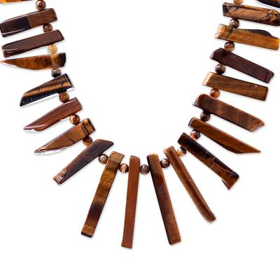 Tiger's eye beaded necklace, 'Tribal Style' - Tribal Tiger's Eye Beaded Necklace from Thailand