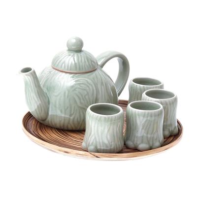 Celadon Ceramic Elephant Tea Set and Bamboo Tray (Set for 4)