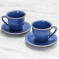 Ceramic cup and saucer set, 'Sublime Simplicity' (pair) - Handcrafted Blue Crackle Ceramic Cups and Saucers (Pair)