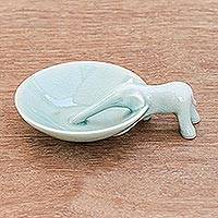 Celadon ceramic incense holder, 'Sipping Elephant' - Elephant-Themed Celadon Ceramic Incense Holder