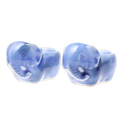Blue Ceramic Elephant Egg Cups from Thailand (Pair)