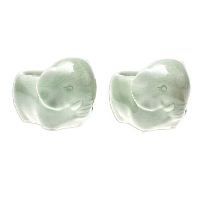 Celadon Ceramic Elephant Egg Cups from Thailand (Pair)