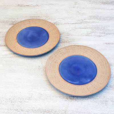 Ceramic plates, 'Country Meal' (pair) - Ceramic Plates in Blue from Thailand (Pair)