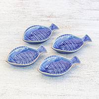 Ceramic appetizer bowls, 'Festive Fish' (set of 4) - Fish-Shaped Blue Ceramic Appetizer Bowls (Set of 4)
