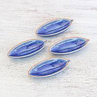 Ceramic serving bowls, 'Festive Banana' (set of 4) - Leaf-Shaped Blue Ceramic Appetizer Bowls (Set of 4)