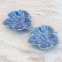 Ceramic bowls, 'Ivy Gourd' (pair) - Leafy Blue Ceramic Appetizer Bowls from Thailand (Pair)