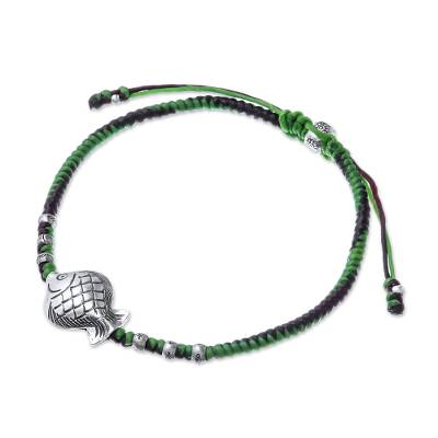 Green and Purple Silver Fish Pendant Bracelet from Thailand