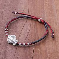Silver pendant bracelet, 'Red and Black Fishing Time' - Red and Black Silver Fish Pendant Bracelet from Thailand
