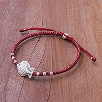 Silver pendant bracelet, 'Red Fishing Time' - Red Silver Fish Pendant Bracelet in Red from Thailand