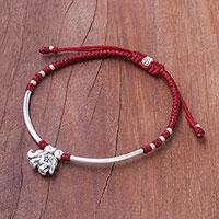 Silver beaded bracelet, 'Elephant Harmony'