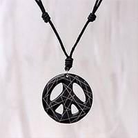 Ceramic pendant necklace, 'Bring Peace in Black' - Hand-Painted Ceramic Peace Necklace in Black from Thailand