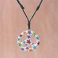Ceramic pendant necklace, 'Star Child' - Star Motif Ceramic Peace Pendant Necklace from Thailand