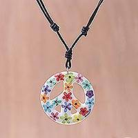 Ceramic pendant necklace, 'Flower Child' - Floral Motif Ceramic Peace Pendant Necklace from Thailand