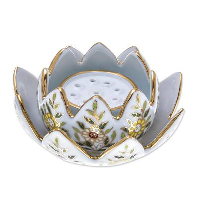 Benjarong Porcelain Incense and Candle Holder (3 Piece)
